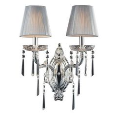 Elk Lighting Princess 2 Light Wall Sconce In Polished Silver With Silk String Shades Vintage Wall Sconces, Rustic Wall Sconces, Modern Sconces, Candle Wall Sconces, Wall Lamps, Indoor Wall Sconces, Bathroom Wall Sconces, Master Bathroom, Elk Lighting