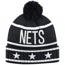 Mitchell & Ness Nets Brooklyn Stars and Stripes Jersey Hook Stars Cuffed Pom Knit Beanie [Black]