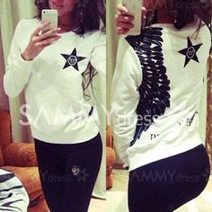 Stylish Star and Wing Print White Pullover Sweatshirt For Women