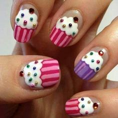 Cupcake finger nail art this is someone's project for tomorrow to do to my nails lol! Cute Nail Art, Beautiful Nail Art, Easy Nail Art, Easy Kids Nails, Cute Kids Nails, Simple Nail Art Designs, Cute Nail Designs, Nail Designs For Kids, Easy Designs
