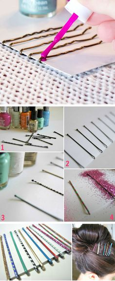 Bling Your Bobby Pins with Nail Varnish   Click Pic for 25 Simple Life Hacks Every Girl Should Know   Household Tips and Tricks for Life