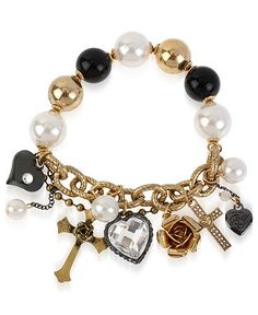Betsy Johnson Gold-Tone Glass Charm Bracelet