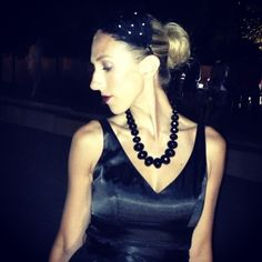 Feather headband and black bead necklace   with black dress   code name: drédin: SAM Remix @Partyboy Van