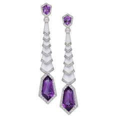 Facetted amethysts set in drop-style earrings by Genevan jeweller Avakian Tapered white enamel lozenges form the body of the earrings Enhanced with diamonds Set in white gold