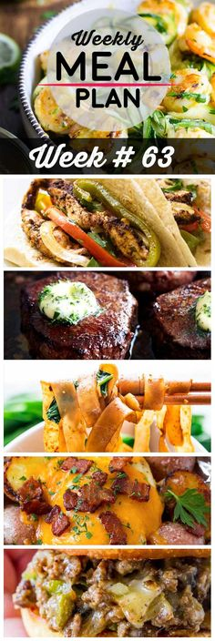 Weekly Meal Plan #63! A meal plan to help you keep things tasty each week, including grilled shrimp and zoodles, chicken fajitas, filet mignon, and more!   HomemadeHooplah.com