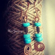 Earrings copper spiral by WireGalaxy on Etsy