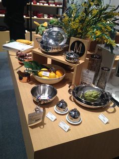 Beautiful Mauviel M'Cook display! Kitchen essentials at their finest! #Mauviel #Mcook #MadeinFrance #StainlessSteel #Cooking #Cookware