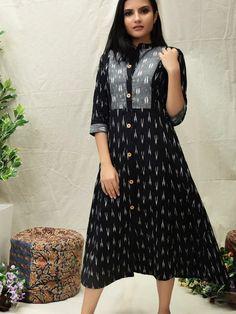 Long Dress Design, Dress Neck Designs, Stylish Dress Designs, Stylish Dresses, Blouse Designs, Simple Kurti Designs, Half Saree Designs, Kurta Designs Women, Kalamkari Dresses