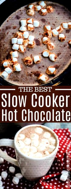 This Slow Cooker Hot Chocolate is simple to make and taste amazing. With just 5 easy ingredients and a few hours in the slow cooker you can serve up a creamy and delicious homemade hot chocolate. Slow Cooker Hot Chocolate Recipe, Hot Chocolate Recipe Easy, Homemade Hot Chocolate, Hot Chocolate Bars, Easy Crock Pot Hot Chocolate Recipe, Crockpot Hot Cocoa Recipe, Chocolate Liquor, Chocolate Chips, Best Slow Cooker