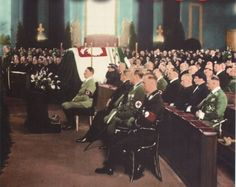 Adolf Hitler attending memorial service of Polish First Marshall Jozef Pilsudski in Berlin, This is the only time that Fuhrer has attended a holy mass as a leader of the Third Reich Rare Historical Photos, Rare Photos, Poland History, Honor Guard, History Of Photography, War Photography, The Third Reich, Fidel Castro, Arnold Schwarzenegger