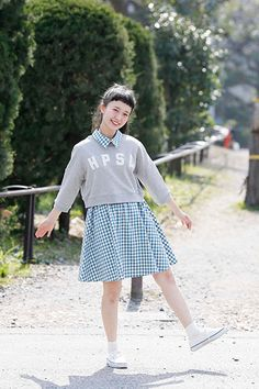 Dress with collar and a sweatshirt underneath