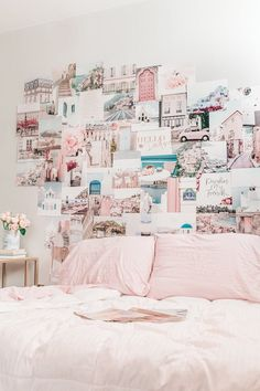 Collage Print Kit - Hello Darling Collage Kit Wall Decor Set of 50 527 Photo. Travel Gallery Wall, Teen Bedroom Designs, Bedroom Ideas, Bedroom Decor, Pastel Home Decor, Pastel House, Colorful Wall Art, Wall Collage, Collage Ideas
