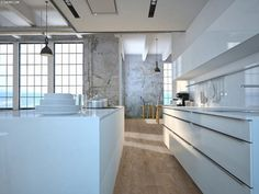 Kuchenna wyspowa z okapem wyspowym Serina polskiej marki GLOBALO Beauty Room, Kitchen Storage, Elegant, Planer, Kitchen Island, Kitchen Design, Bathtub, Design Inspiration, Flooring