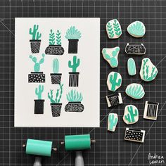Andrea Lauren - Potted Plants Handmade Rubber Stamps