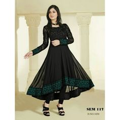 Color : Black Collection : SEM117 Type : Semi Stitched Long Anarkali Suit Top : 60 gm georgette Bottom : Santoon Dupatta : Chiffon Inner : Santoon Work : Heavy Embroidery Work
