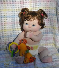 """Little Darling 02'2012.  Life size 48 cm / 19"""" Soft Sculpture Baby, Child Friendly Cloth Baby Doll."""