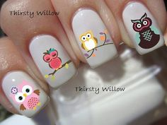 Nail Art Designs For Short Nails Owl Nail Art, Owl Nails, Animal Nail Art, Minion Nails, Owl Nail Designs, Nail Designs For Kids, Nails For Kids, Manicure E Pedicure, Nagel Gel