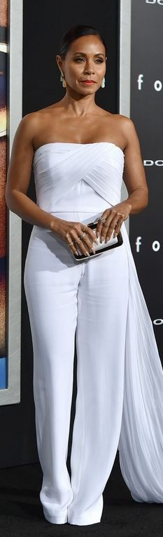 Jada Pinkett Smith in a white strapless Azzaro Couture jumpsuit.