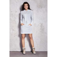 Sport Casual, Day Dresses, Infinite, White Dress, High Neck Dress, Spandex, Grey, Model, Cotton