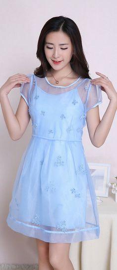 Mini Sleeveless Dress Plus Short Sleeve Overlay YRB0027