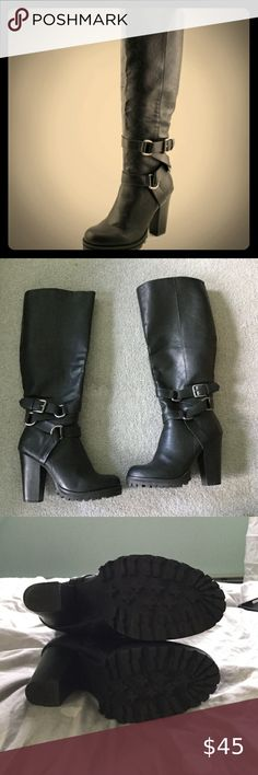 Zigi Soho Barbara Boot Size 7 in Black Round toe Buckle detail Man made sole Synthetic upper Approx heel Black Gently worn Zigi Soho Shoes Heeled Boots Shoes Heels Boots, Heeled Boots, Black Heels, Soho, Riding Boots, Fashion Tips, Fashion Trends, Detail, Accessories