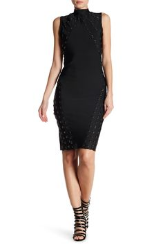 Wow Couture Grommet Embellished Body Con Dress