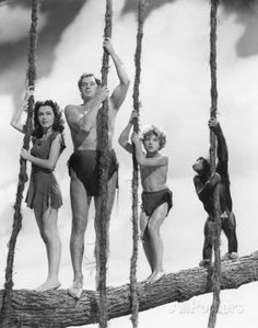 King of the Swingers: Cheetah (right) In the 1939 hit Tarzan Finds a Son. Jane, Tarzan, Boy and Cheetah. The character of Cheetah was the comic relief in the Tarzan series starring American Olympic gold medal swimmer Weissmuller. Tarzan Movie, Tarzan Series, Tarzan Of The Apes, Real Tarzan, Mejores Series Tv, Cinema Tv, Vintage Television, Cartoon Photo, Vintage Tv
