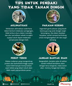 Untuk beberapa orang, suhu dingin gunung benar-benar menusuk. Mengatasi hal tersebut, perlu melakukan beberapa persiapan. Simak tipsnya  #gunung #hiking #tips #cold #Phinemo #infographic #mountain Backpacking Tips, Hiking Tips, Survival Tips, Survival Skills, Funny Beach Pictures, 365 Jar, Bushcraft Kit, Positive Vibes Quotes, Adventure Outfit