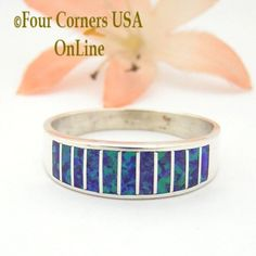 Size 11 1/2 Purple Fire Opal Inlay Wedding Band Ring Ella Cowboy WB-1625 Four Corners USA Online Jewelry Wide Wedding Bands, Engagement Wedding Ring Sets, Engagement Ring Settings, Wedding Rings, Native American Wedding, Native American Rings, Great Anniversary Gifts, Purple Fire, Bridal Rings