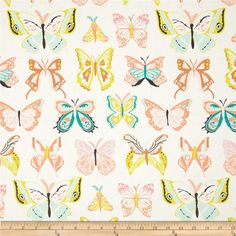 Art Gallery Winged Wingspan Melon from @fabricdotcom  Designed by Bonnie Christine for Art Gallery Fabrics, this cotton print is perfect for quilting, apparel and home decor accents.  Colors include citron, warm brown, blush, teal, melon, aqua, and white.  Art Gallery Fabric features 200 thread count of finely woven cotton.