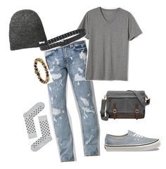 """Spring Relax"" by alexputman on Polyvore featuring Level 7, Banana Republic, Vans, FOSSIL, men's fashion and menswear"