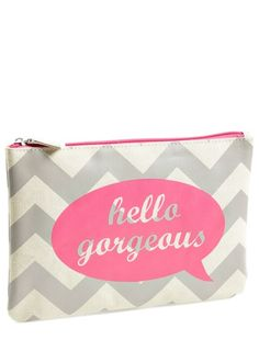 All of the beauty essentials are going in this cute pink and grey chevron cosmetics bag.