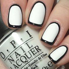 Black and White Borderline Nail Design for Short Nails