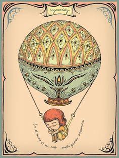Ingravidez, F. Balloon Rides, Art Themes, Pretty Art, Tarot, Art Nouveau, Vintage World Maps, Balloons, Draw, Sky