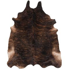 Shiraz Global Bazaar Brown Brindle Cowhide Rug ($778) ❤ liked on Polyvore featuring home, rugs, brown rugs, brown area rugs, cowskin rug, brown cowhide rug and cowhide area rug