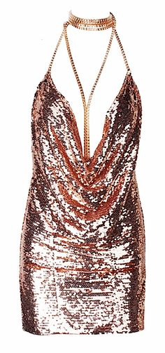 Trinity Rustic Gold Sequined Choker Mini Dress from Raw Glitter | Shop Hottest New Party Dresses | Women's Clothing, Jewelry