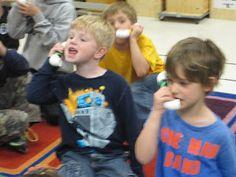 Franklin Music: Kindergarten; whisper phones, vocal exploration, 1/2 sounds on a beat