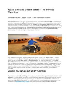 Experience the adventure drive of stunning Quad bike on high red dunes od Dubai desert.  Get the best quad bike safari deals at Arabiandesertdubai and explore …#quadbikesafari