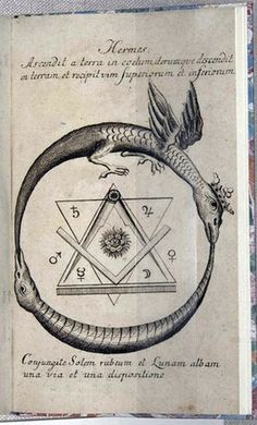 This eighteenth–century edition of a text by Hermes Trimegistus was intended for Rosicrucian audiences. This symbol combines the alchemical double ouroboros with the Masonic square and compass within the Seal of Solomon, and with the Rosicrucian rose in the center.