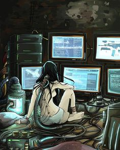An awesome Virtual Reality pic! We can change the world with our cyber minds #cyberpunk #girl #robogirl #robotgirl #computer #wire #computers #wires #art #virtual #virtualreality #reality [Crédit to artist] by nezumidesukaa check us out: http://bit.ly/1KyLetq
