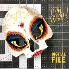ADULT SIZE Day of the Dead Sugar Skull Calavera Mask: Book of Life - La Muerte (Digital File) by OhWowDesign on Etsy https://www.etsy.com/listing/465822608/adult-size-day-of-the-dead-sugar-skull