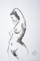 akt, tusche, aktzeichnung, zeichnung, tuschezeichnung, aktbild, frau, nackt, weiblich, bambusfeder, sickinger