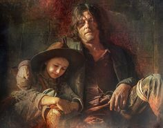 Judith and Daryl by Carrion Amc Twd, Laurie Holden, Judith Grimes, Walking Dead Art, Daryl Dixon, Norman Reedus, My Heart Is Breaking, Great Artists, Amazing Art