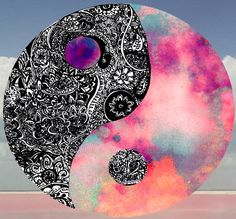 """""""The outer circle represents """"everything"""", while the black and white shapes within the circle represent the interaction of two energies, called """"yin"""" (black) and """"yang"""" (white), which cause everything to happen. They are not completely black or white, just as things in life are not completely black or white, and they cannot exist without each other."""""""