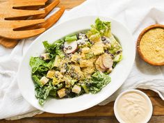 Vegan southwest Caesar salad! You'll love the creamy, briny, chili infused vegan dressing made from almonds and the cashew vegan parmesan cheese!