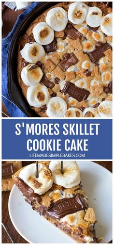 You won't be able to resist this ooey gooey s'mores skillet cookie cake! Its loaded with crisp graham crackers, melty chocolate, and toasty marshmallows. #smoresskilletcookiecake #cookiecake #smorescookie #skilletcookie