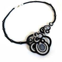 Large Statement black necklace soutache OOAK soutache by sutaszula