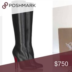 "👠CHRISTIAN LOUBOUTIN BOOTS👠 EUC. Pic 2 shows slight scuff. Soles are worn but still in excellent condition as shown in pic 3. No box. 18.5"" high. 3.5"" heel.  INSTAGRAM: @unionsquaremama Christian Louboutin Shoes Over the Knee Boots"