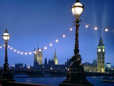 Westminster street at night London England free desktop background