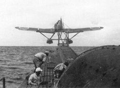 "fujisan-ni-noboru-hinode: "" An IJN class submarine is seen launching an Aichi Seiran reconnaissance seaplane. Ww2 Aircraft, Aircraft Carrier, Military Aircraft, Amphibious Aircraft, Planes, Warrant Officer, Imperial Japanese Navy, Flying Boat, Aichi"